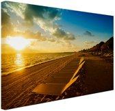 Cancun strand Mexico Canvas 60x40 cm - Foto print op Canvas schilderij (Wanddecoratie woonkamer / slaapkamer)