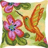 kruissteekkussen 9368 kolibrie met bloemen