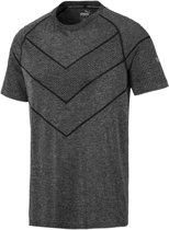PUMA Reactive evoKNIT Tee Sportshirt Heren - Puma Black Heather - Maat XL
