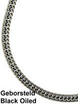 Bukovsky Stalen Heren Ketting - SH9210 - Black Oiled - Lengte 60 cm - Breedte 0,7 cm - Dikte 0,3 cm - Geborsteld - Brushed - Rvs - 316L Stainless Steel