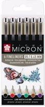 "Sakura Pigma Micron 6 kleuren fineliners ""Basic"" - 05 - 0,45mm"