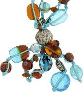 Blauwe ketting met glas en keramieke kralen