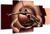 Canvas schilderij Abstract | Bruin, Wit | 160x90cm 4Luik