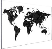 Wereldkaart zwart Aluminium 90x60