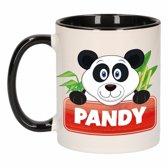 1x Pandy beker / mok - zwart met wit - 300 ml keramiek - pandabeer bekers