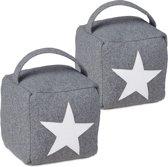 relaxdays 2er set deurstopper ster - deurvastzetter vloer - deurstop textiel - met handvat