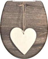 SCHÜTTE WC-Bril 82377 WOOD HEART - Duroplast - Soft Close - Afklikbaar - RVS-Scharnieren - Decor - 3-zijdige Print