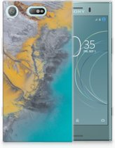 Sony Xperia XZ1 Compact TPU Hoesje Design Marble Blue Gold