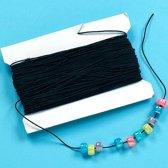 Zwart elastiek - creatieve knutselspullen voor kinderen en volwassen voor armband en sieraden maken (Klos van 30 meter)