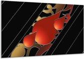Glasschilderij Art | Rood, Zwart | 120x70cm 1Luik | Foto print op Glas |  F005697