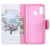Let op type!! Gekleurde tekening patroon horizontale Flip lederen case voor Samsung Galaxy A40  met houder & kaartsleuven & portemonnee (boom)