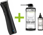 WAHL Beret Trimmer Black Stealth Pro-Lithium Accu - Snoerloos + Monster Clippers Clean & Cool Blade Spray + Monster Clippers Oil voor Tondeuses en Trimmers