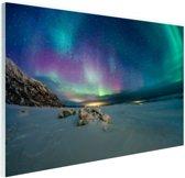 Bevroren fjord met noorderlicht Glas 60x40 cm - Foto print op Glas (Plexiglas wanddecoratie)