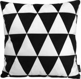 Black Priority Kussenhoes | Katoen/Flanel | 45 x 45 cm | Zwart - Wit