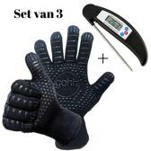 1 Kookthermometer en 1 paar BBQ-handschoenen  (gemaakt van Aramide en Kevlar - EN407)