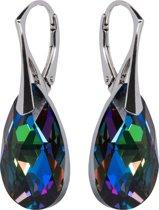 Oorbellen met Swarovski Kristallen Druppel Meridian Blue - 925 zilver - 22MM