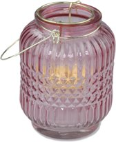 Mini Theelicht Lantaarn met hengsel - Roze/Goud - Glas