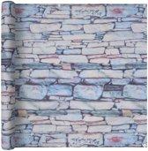 vidaXL Balkonscherm 90x400 cm oxford stof stenen muur opdruk