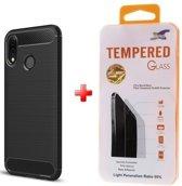 Silicone gel zwart hoesje Huawei P30 Lite met glas screenprotector