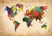 Schilderij - Artistieke wereldkaart in kleuren