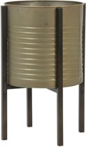 Light and living Light&Living Bloempot Caski Deco Op Standaard Tin Brons M 43,5 x Ø28,5