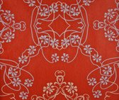 Dutch Wallcoverings Vlies bloem/damast - rood/wit/blauw