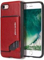 Pierre Cardin Leren Backcover Met Kaarthouder iPhone 8 / 7 - Rood