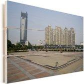 Moderne gebouwen in de Chinese stad Wuhan Vurenhout met planken 60x40 cm - Foto print op Hout (Wanddecoratie)