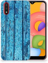 Samsung Galaxy A01 Bumper Hoesje Blauw Wood