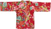 Lucky Wang NY Meisjes Kimono Rood met bloemen ls - LW81 - Maat 80