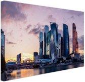 Moskou zakencentrum  Canvas 180x120 cm - Foto print op Canvas schilderij (Wanddecoratie woonkamer / slaapkamer) / Steden Canvas Schilderijen XXL / Groot formaat!