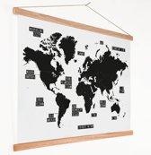 Zwart wit wereldkaart op schoolplaat Schilderij 60x40 cm platte latten - Textielposter