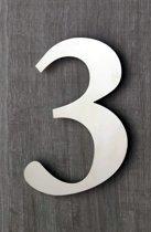Huisnummers RVS. Hoogte 15 cm. Geborsteld. Huisnummer 3. 5 jaar garantie.