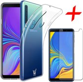 Transparant Hoesje voor Samsung Galaxy A9 (2018) Case Siliconen TPU Soft Gel + Screenprotector Gehard Glas Tempered Glass van iCall