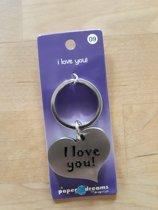 RVS Hart Sleutelhanger - I Love You!