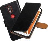 MP Case Zwart Vitage lederlook PullUp Map voor de Motorola Moto G4 wallet cover - book case - hoesje