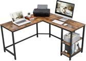 L-Vormig Hoekbureau met Legplanken en 2 Tafelbladen -  Bureau met Vintage Look - 135x135x75cm - Zwart/Bruin