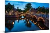 Verlichte Prinsengracht in de avond Aluminium 60x40 cm - Foto print op Aluminium (metaal wanddecoratie)