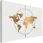Wereldkaart Goud Kompas Canvas 80x60 cm | Wereldkaart Canvas Schilderij