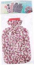 Water kruik met fleece hoes luipaard print roze 2 liter - warmwaterkruik