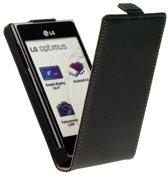 Lederen Flip Case Hoesje - LG Optimus L9 Zwart