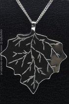 Zilveren Plataan blad ketting hanger - groot