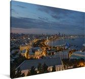Uitzicht over de stad Bakoe in Azië vanaf het Highland Park Canvas 90x60 cm - Foto print op Canvas schilderij (Wanddecoratie woonkamer / slaapkamer)