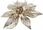 1x Kerstboomversiering bloem op clip gouden kerstster 23 cm - kerstfiguren - gouden kerstversieringen