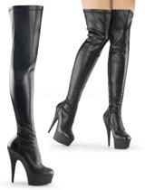 EU 37 = US 7 | DELIGHT-3000 | 6 Heel, 1 3/4 PF Thigh High Boot, Side Zip