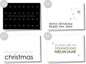 Kerst- en Nieuwjaarskaarten, set van 12 stuks, dubbele kaarten met envelop
