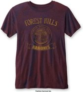 Ramones - Forest Hills heren unisex burn out T-shirt two tone rood/blauw - XL