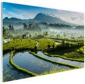 Zonsopkomst rijstveld Tirtagangga Bali Glas 120x80 cm - Foto print op Glas (Plexiglas wanddecoratie)