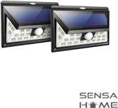 2 x SensaHome solar lamp 24 led met bewegingssensor voor buitenverlichting   Slimme lamp   Energievriendelijk op zonne-energie   Buitenverlichting wandlamp met sensor en led