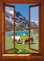 Tuindoek doorkijk naar koeien